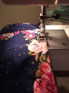 Stitchin the new back of my dress!!