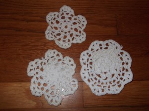 Doilies, aka knit spiderwebs