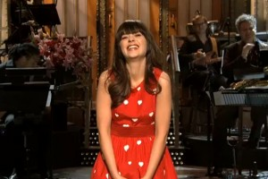 Zooey rocking her monologue in Rachel Antonoff!