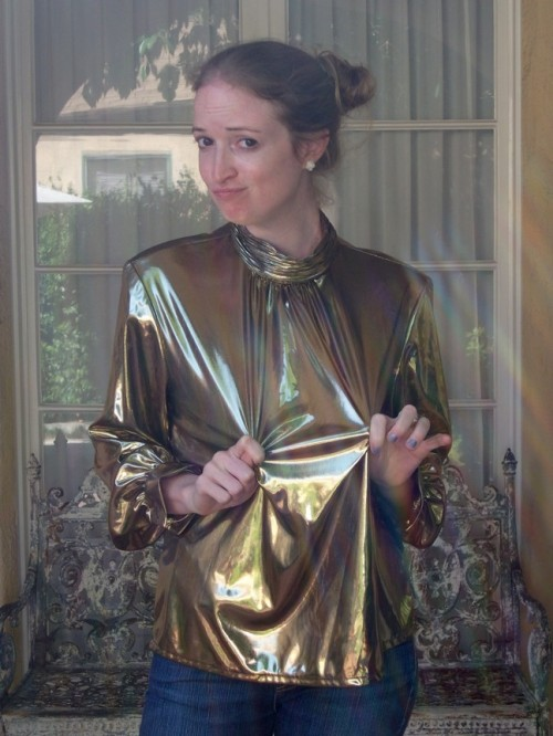 New Dress a Day - DIY - Vintage Metallic Shirt - Too Big Before Shot - 174