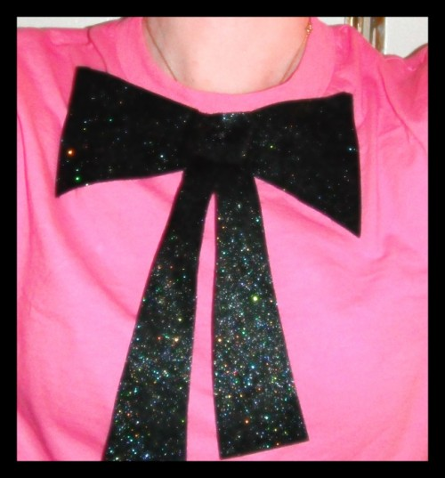 New Dress a Day - DIY - Hanes Tshirt - Rit Dye - Fuchsia - Finished Bow ECU - 151