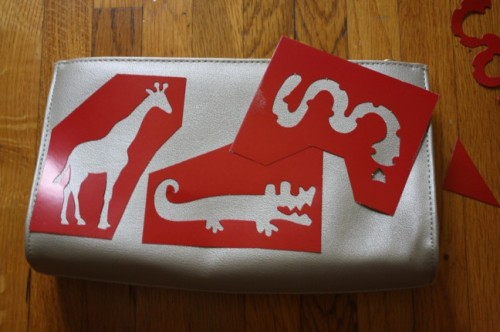 New Dress a Day - DIY - Vintage Clutch - Safari Stencil Placement - 155