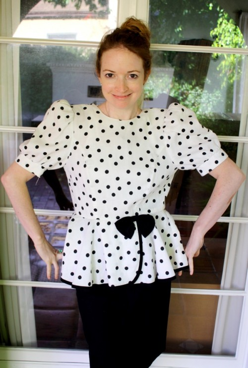New Dress A Day - DIY - Vintage Dress - Polka Dots - Peplum Dress - Before Shot 2 - 138