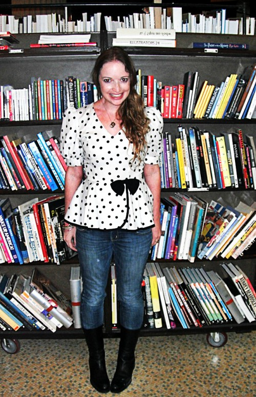 New Dress A Day - DIY - Vintage Dress - Polka Dots - Peplum Dress - Marisa at The Last Bookstore LA - 138