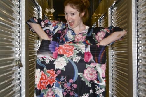 New Dress A Day - VIntage Dress - DIY - Black Floral Before Pockets - 128