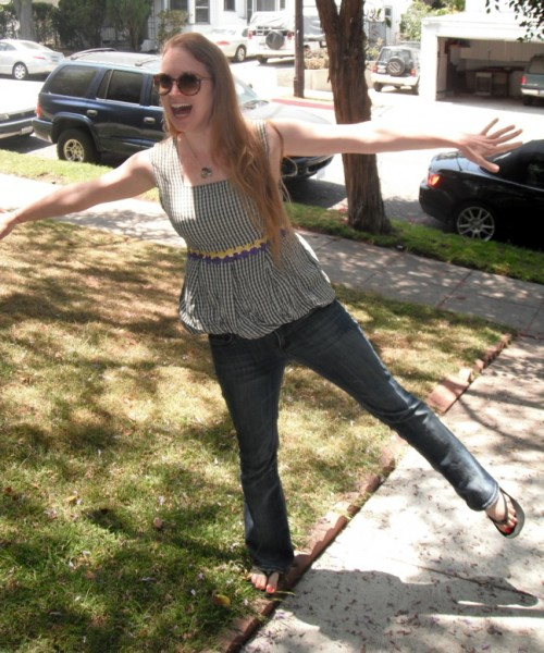 New Dress a Day - DIY - Vintage Dress - Plaid - After Shot on Lawn - 141