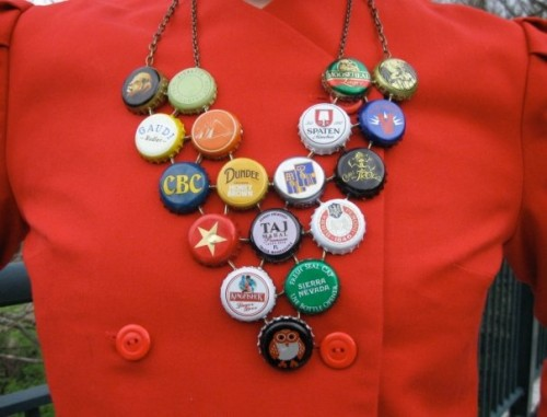 New Dress A Day - DIY - vintage dress - beer bottle cap necklace - 132