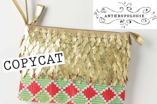New Dress A Day - DIY - Anthropologie Copycat - Flocked Gold Clutch