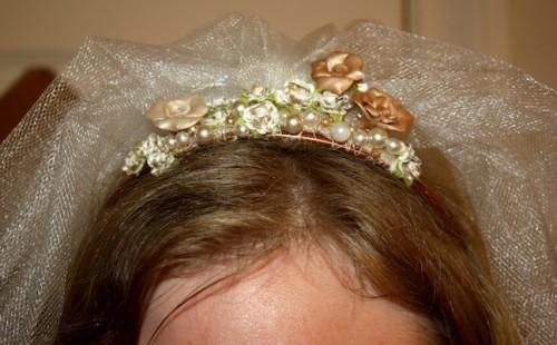 New Dress A Day - DIY - Wedding Veil - Bride in her veil!