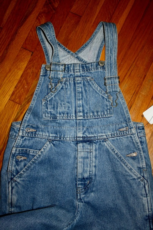 New Dress A Day - DIY - Vintage Striped Shirt - Overalls!