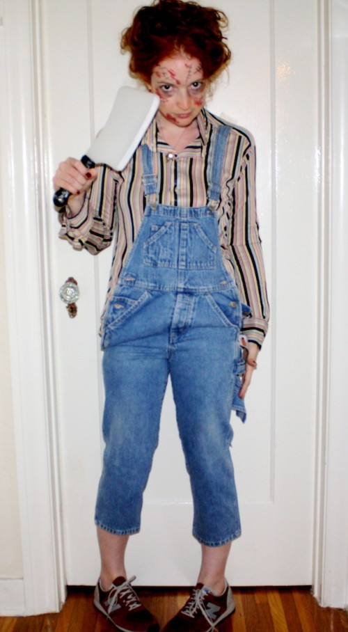 New Dress A Day - DIY - Vintage Striped Shirt - Chucky!