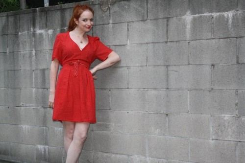 New Dress A Day - DIY - Vintage Polka Dots - Lady in Red!