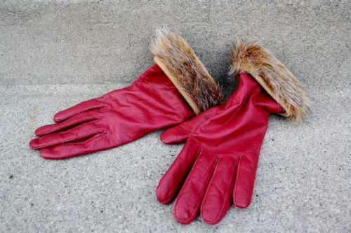 New Dress A Day - Upcycled Leather Gloves - Faux Fur Trim
