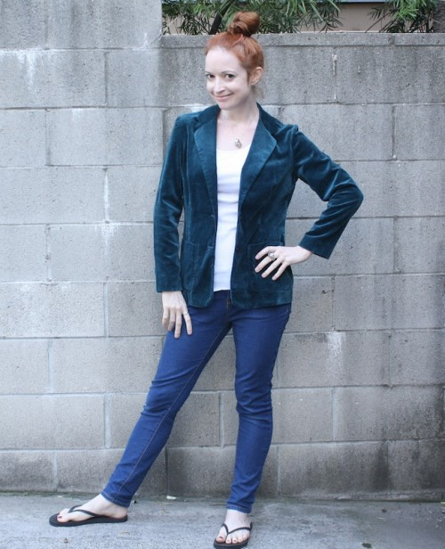 New Dress A Day - DIY - vintage teal blazer - upcycle
