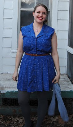 New Dress A Day - DIY - Vintage Dress - Upcycle - Goodwill - Polka Dotted Dress