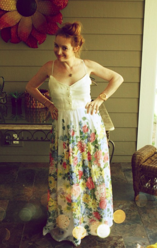 New Dress A Day - DIY - vintage dress - Goodwill - Baby Shower Dress