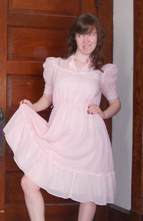 New Dress A Day - DIY - Vintage Pretty in Pink Dress - 80s dress