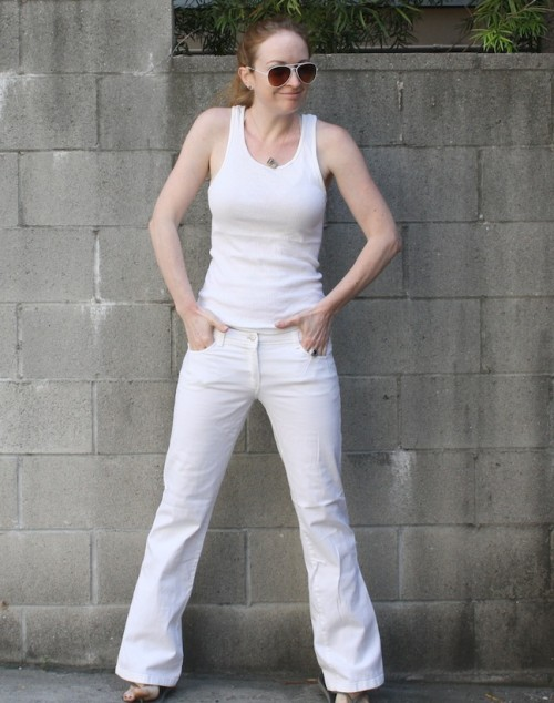 New Dress A Day - DIY - Refashioned White Pants- Photo - Crystal Light Liquid