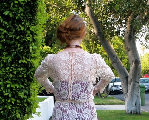New Dress A Day - DIY - Vintage Lace Dress - Goodwill - Buttoned Back