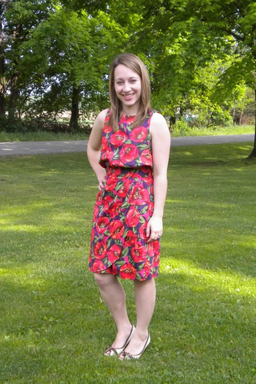 New Dress A Day - DIY - Goodwill dress - floral fabric print