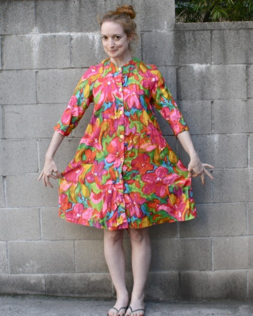 New Dress A Day - DIY - Vintage Floral Housedress - Goodwill