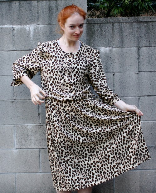 New Dress A Day - Vintage Leopard Print Dress - DIY - Goodwill