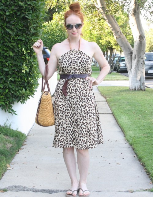 New Dress A Day - Vintage Leopard Print Dress - DIY - Goodwill - Grosgrain Ribbon