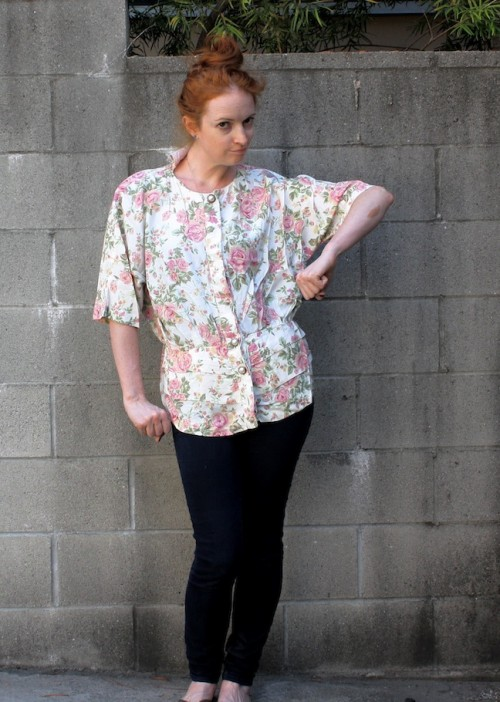 New Dress A Day - DIY - Housing Works Blouse - Thrift Store Shopping
