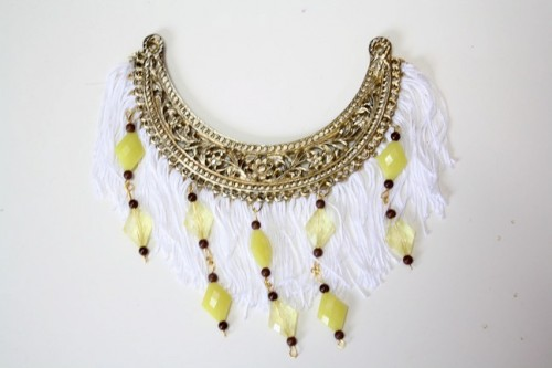 New Dress A Day - DIY - Beaded Fringed Necklace - Vintage