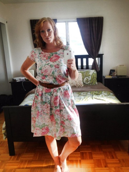 New Dress A Day - Goodwill - thrift store shopping - vintage floral Laura Ashley dress