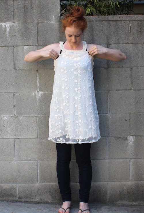 New Dress A Day - thrift store shopping - DIY - spotted white dress