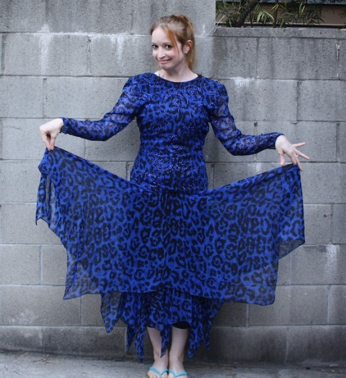 New Dress A Day - DIY - VIntage Dress - Blue Leopard Print