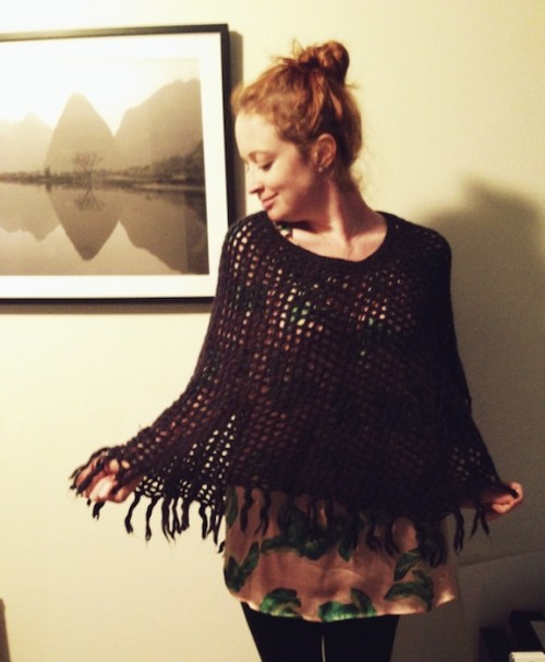 New Dress A Day - Wool Fringed Poncho - Giveaway