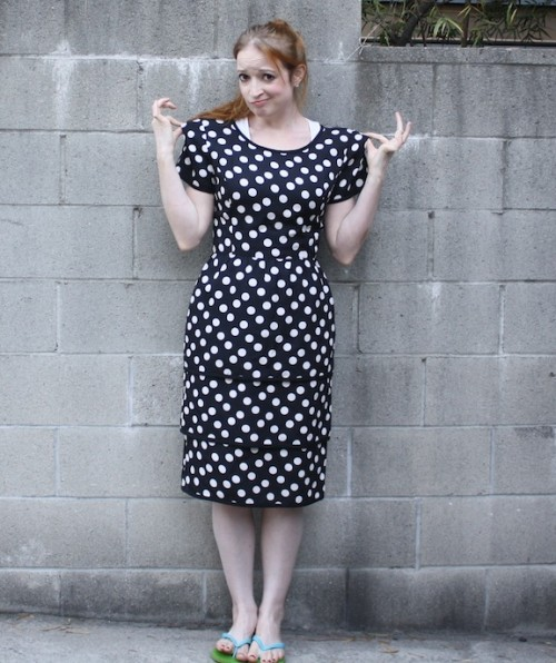 New Dress A Day - vintage polka dot dressl - thrift store shopping