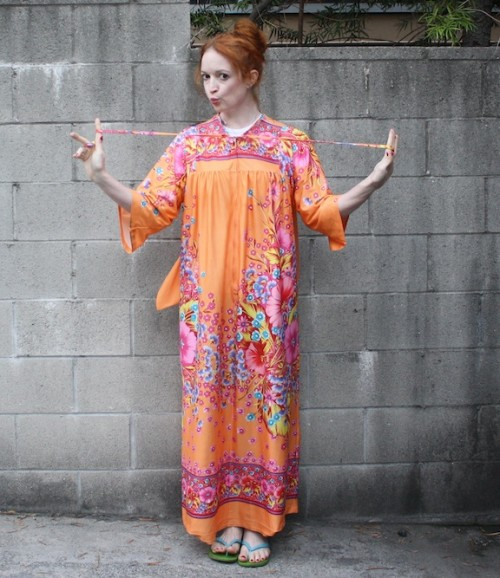 New Dress A Day - vintage muumuu - Goodwill - thrift store shopping