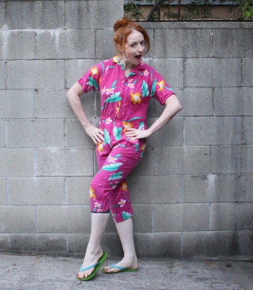 New Dress A Day - DIY - 80s Tropical Pantsuit - Vintage - Thrift Store Shopping