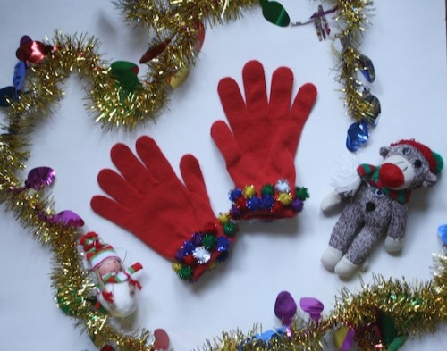 New Dress A Day - Holiday DIY - pom pom gloves