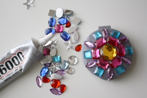 New Dress A Day - DIY - rhinestoned compact