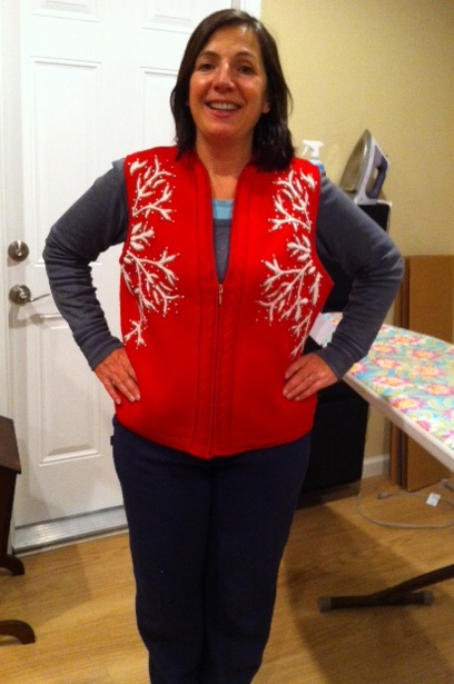 New Dress A Day - DIY - Ugly Holiday Vest - thrift store