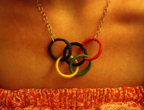 New Dress A Day - DIY - Vintage Dress - Olympic Rings Necklace - Finished Rings - 81