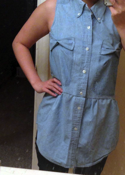 New Dress A Day - DIY - upcycled denim shirt