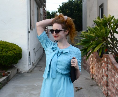 New Dress A Day - Blue Collared 60s Dress - vintage dress - thrift store shopping