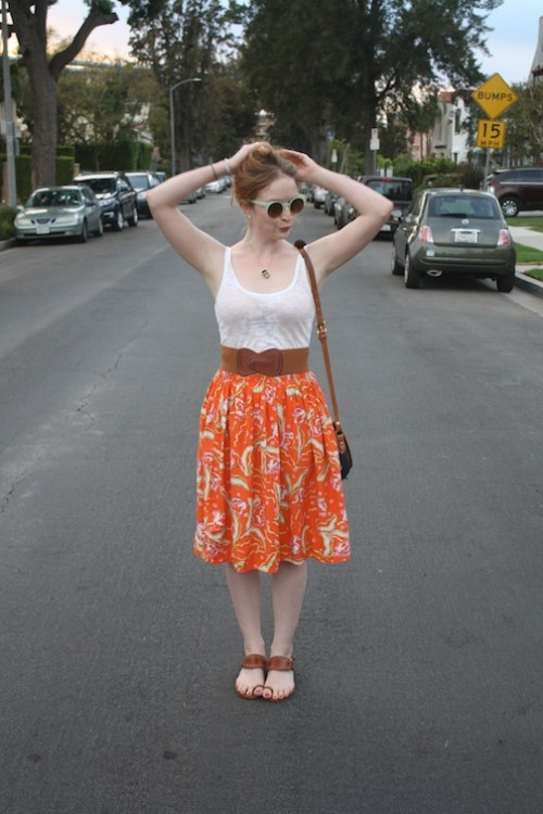 New Dress A Day - DIY - Vintage Orange Floral Dress - 80s