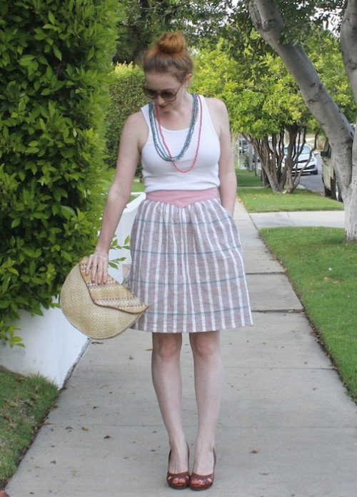 New Dress A Day - DIY - vintage skirt - beige plaid - thrift store shopping