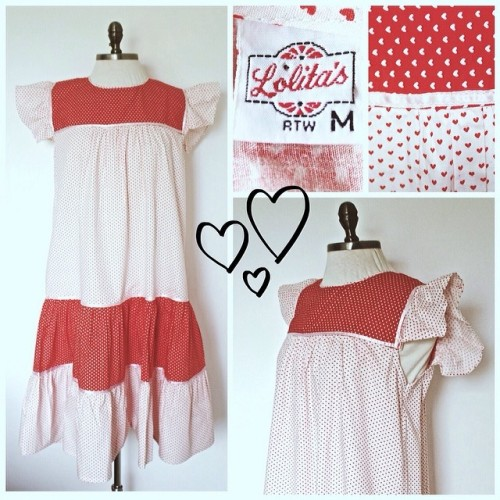Vintage white and red polkadot dress - New Dress A Day - thrift store shopping