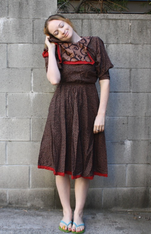New Dress A Day - DIY - thrift store shopping - vintage brown dress