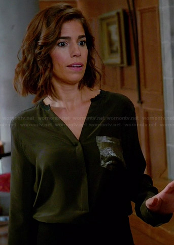 Sandro Eldorado Top with sequin pocket - Ana Ortiz