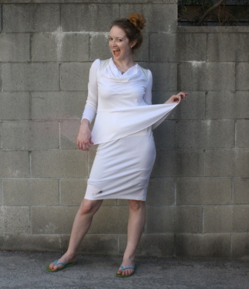 New Dress A Day - vintage white polyester dress