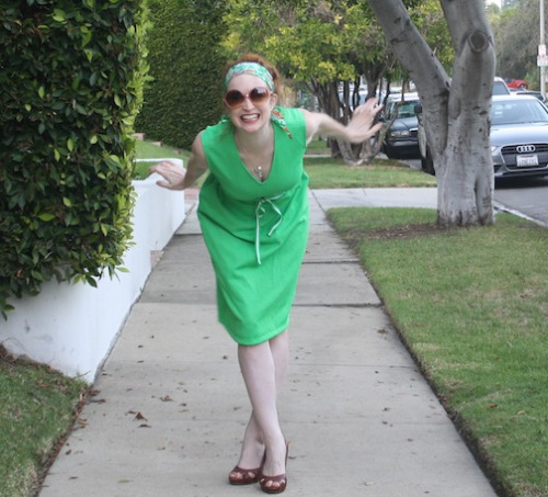 New Dress A Day - vintage lime green dress