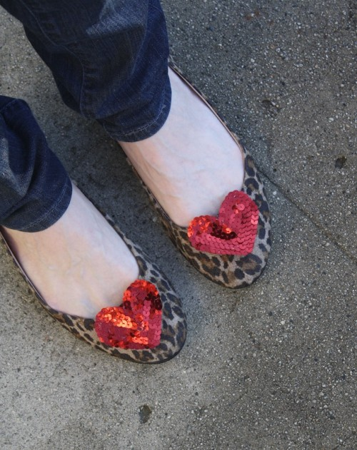 New Dress A Day - DIY - sequin heart shoe clips - earrings